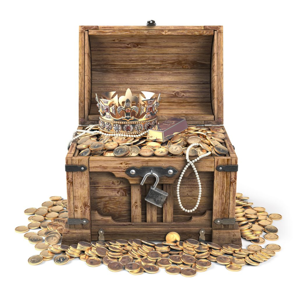 Open treasure chest filled with golden coins, gold and jewelry i