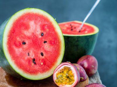Vegan breakfast. Watermelon with passion fruit